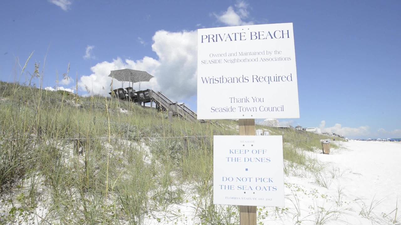 "Florida's Walton County Beaches including show ""private beach"" signs."