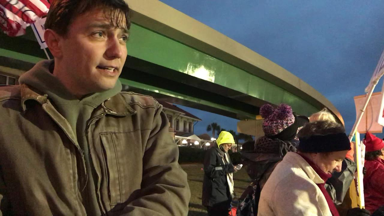 President Trump protester Tommy King explains why he's standing outside the Pensacola rally.