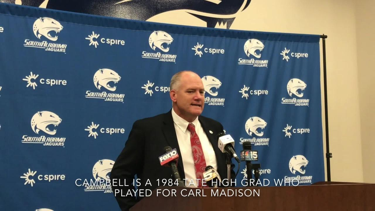 Tate High grad Steve Campell thrilled to become new head football coach at South Alabama.