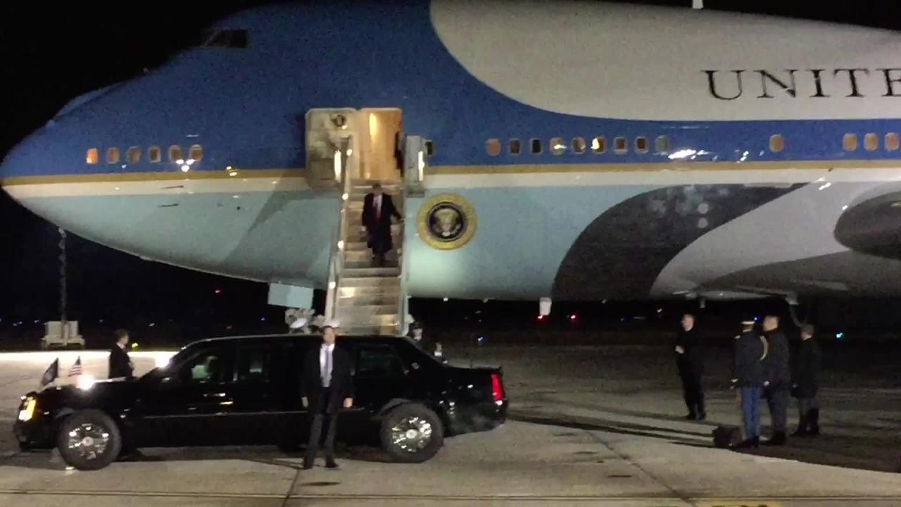 President Donald Trump lands at Pensacola Naval Air Station on Friday, Dec. 8, 2017 and departs for a downtown rally. (Joseph Baucum/jbaucum@pnj.com)