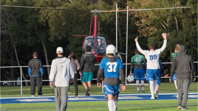 WATCH: UWF head coach Pete Shinnick arrives at practice in grand fashion