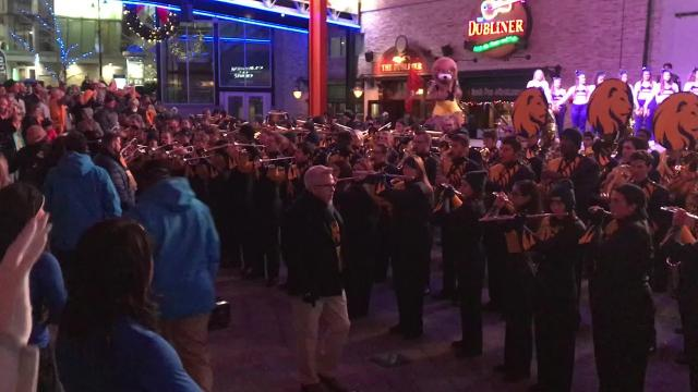 University of West Florida fans from around the country hit the Power and Light District in Kansas City, Missouri on Friday night for a pep rally in advance of the Division II National Championship.