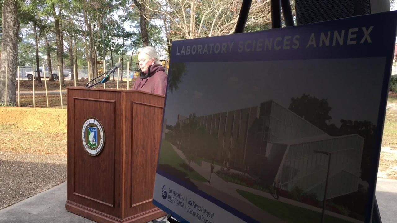 The University of West Florida held a ceremonial groundbreaking on the forthcoming Laboratory Sciences Annex on Friday, Jan. 5, 2017.