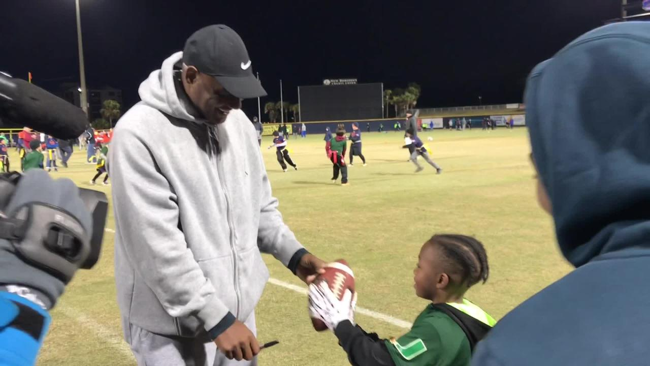 Derrick Brooks visited Blue Wahoos Stadium to check out Pensacola Under The Lights Flag Football games