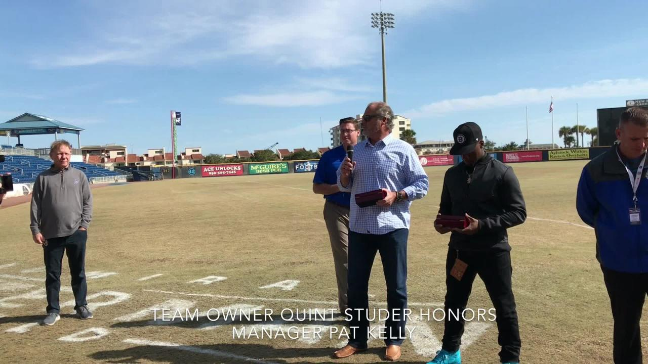 Blue Wahoos honor manager Pat Kelly, celebrate 2017 championship season