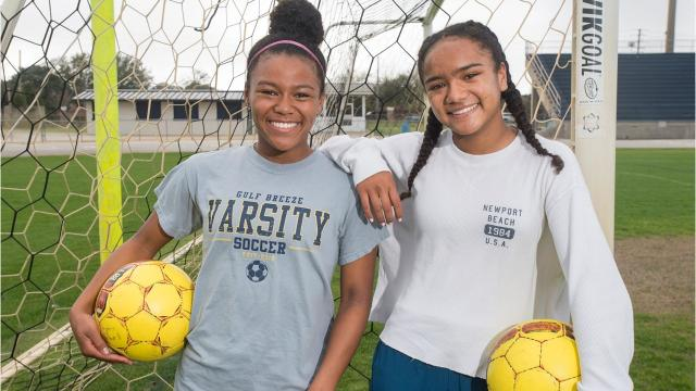 Sisters Mya and Aila Swinton have been pivotal after transferring to Gulf Breeze last summer. They joined a talented group now one game from the program's first state title since 2001.