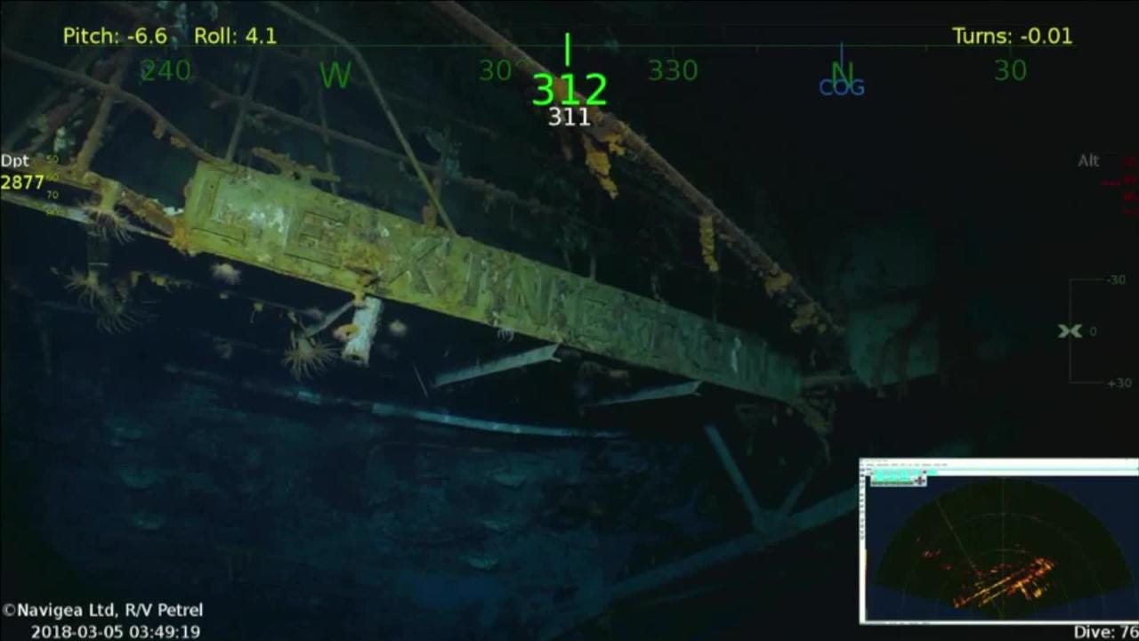 Dive footage shows USS Lexington wreckage in Coral Sea