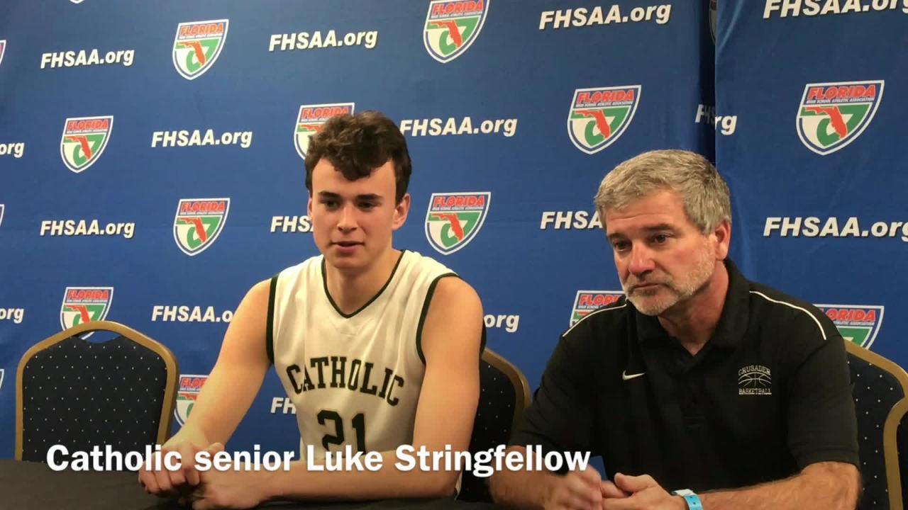 Catholic head coach Jeff Gill and senior Luke Stringfellow speak after the tough loss.