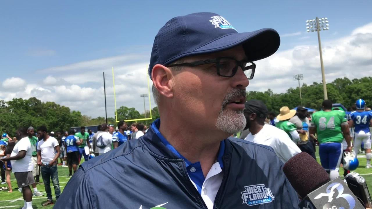 UWF football coach Pete Shinnick discusses Saturday's spring game at Pen-Air Field.