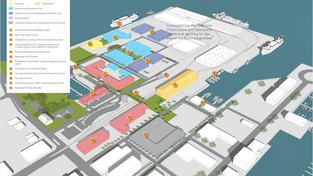 """Moffatt & Nichol presented three """"concepts"""" of what the future port could look like based on a citizen survey conducted in June and case studies of similar ports. (Jim Little/Pensacola News Journal)"""