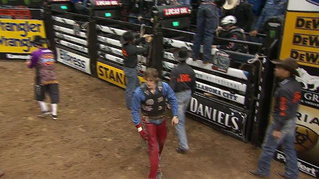 Exeter native Mason Lowe rides a bull during a PBR event in Oklahoma City. Video courtesy of PBR.