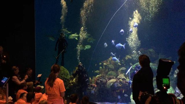 Ryan Zinke talks to students at Wonders of Wildlife aquarium