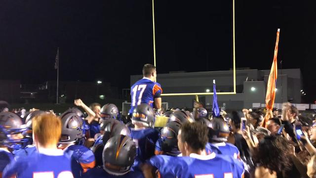 The Hillcrest students rushed the field to celebrate with the Hornet football players. Quarterback Haden Parton talks about how the celebration felt.