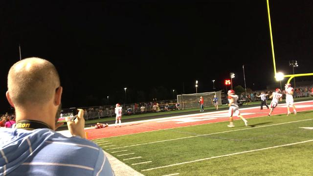 Jack Sanders overthrows Sean Sample on fourth down with 1:02 left in the game to clinch Ozark's 21-14 Backyard Brawl win.