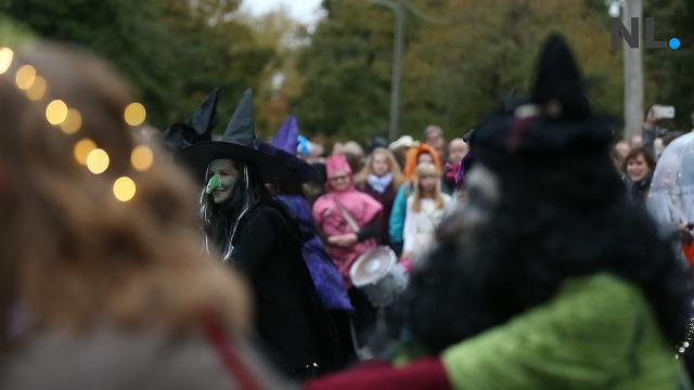 A flashmob of witches kicked off the annual parade on Halloween 2017.