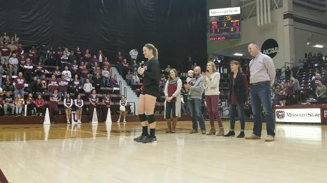 Missouri State senior volleyball player Lily Johnson addresses the crowd after playing her last regular season match at Hammons Student Center.