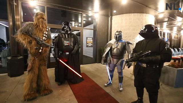 "A number of ""Star Wars"" fans came out to the Alamo Drafthouse in full costume for the opening night of ""Star Wars: The Last Jedi."""