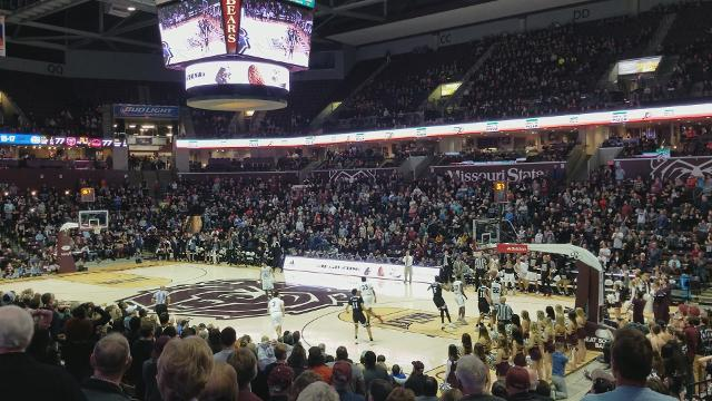 Missouri State's Jarrid Rhodes misses what would have been a game-winning 3-pointer at the buzzer to fall to Southern Illinois 79-77 on Saturday, Jan. 27, 2018.
