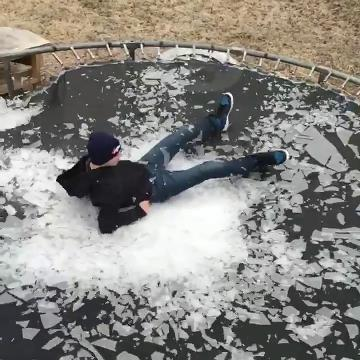 An Ozark mom said she got a kick out of this video of her son jumping onto an ice-covered trampoline - even though he didn't ask permission.