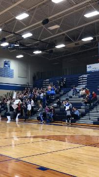 Clever senior Caleb Peck hits a 3-pointer on senior night after tearing his ACL just under two weeks before.
