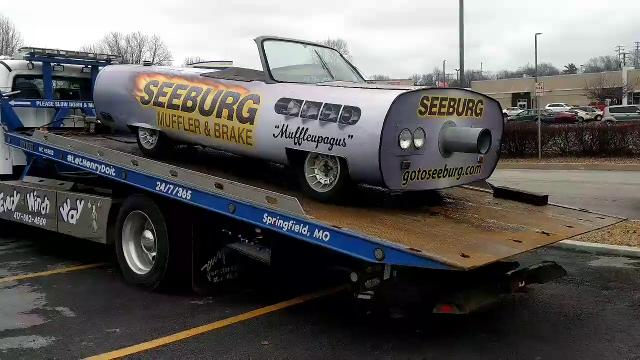 After 46 years in business, Seeburg Service Center on Sunshine Street was purchased by Big Cedar LLC and city building permits indicate Bass Pro Shops intends to demolish the structure.  Its iconic muffler car was relocated to a new home.