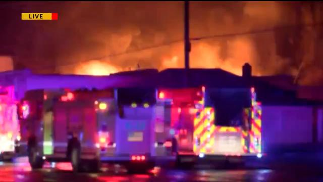 Fire broke out in a building in the 800 block of W. Commercial early Thursday morning.