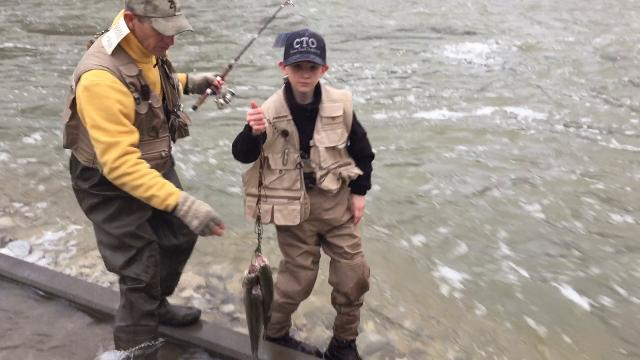 Joe Jackson and his son, Jonathan, enjoyed their first trout of the year.