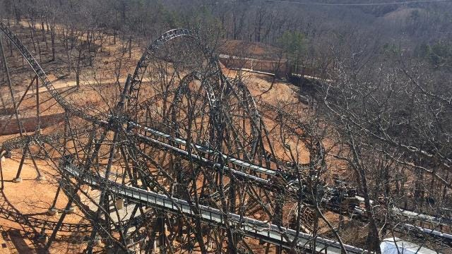 The first ride of Time Traveler, Silver Dollar City's newest roller coaster