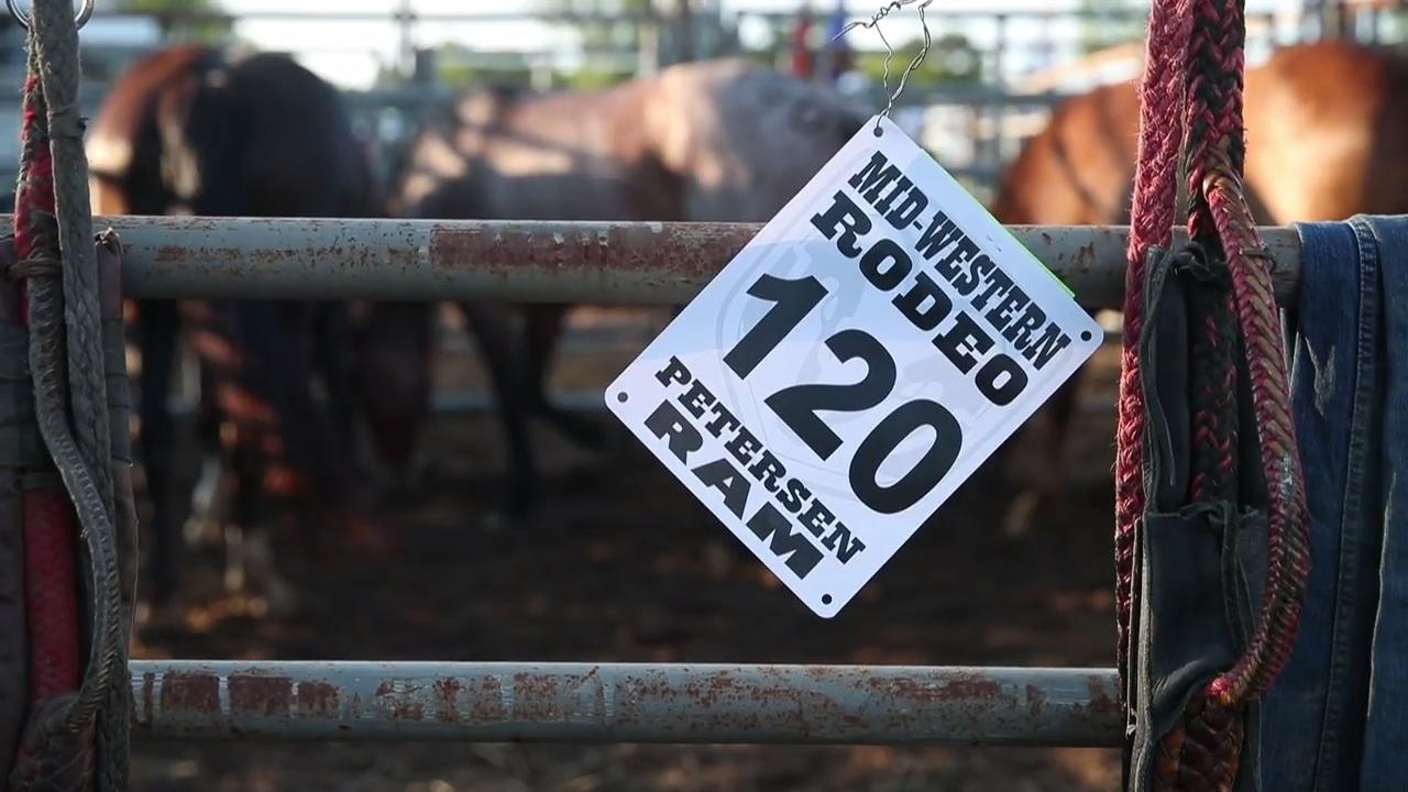 Watch as competitors prepare, ride, and compete in bull riding, steer wrestling, barrel racing and more at the Mid-Western Rodeo in Manawa, Wis.