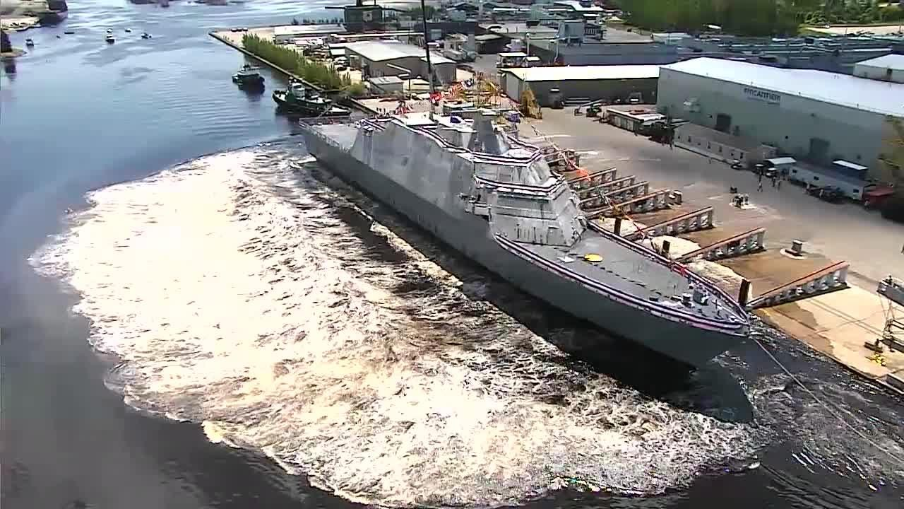 The launch of the future USS Billings, a littoral combat ship, on July 1 in Marinette. Video courtesy of Lockheed Martin.