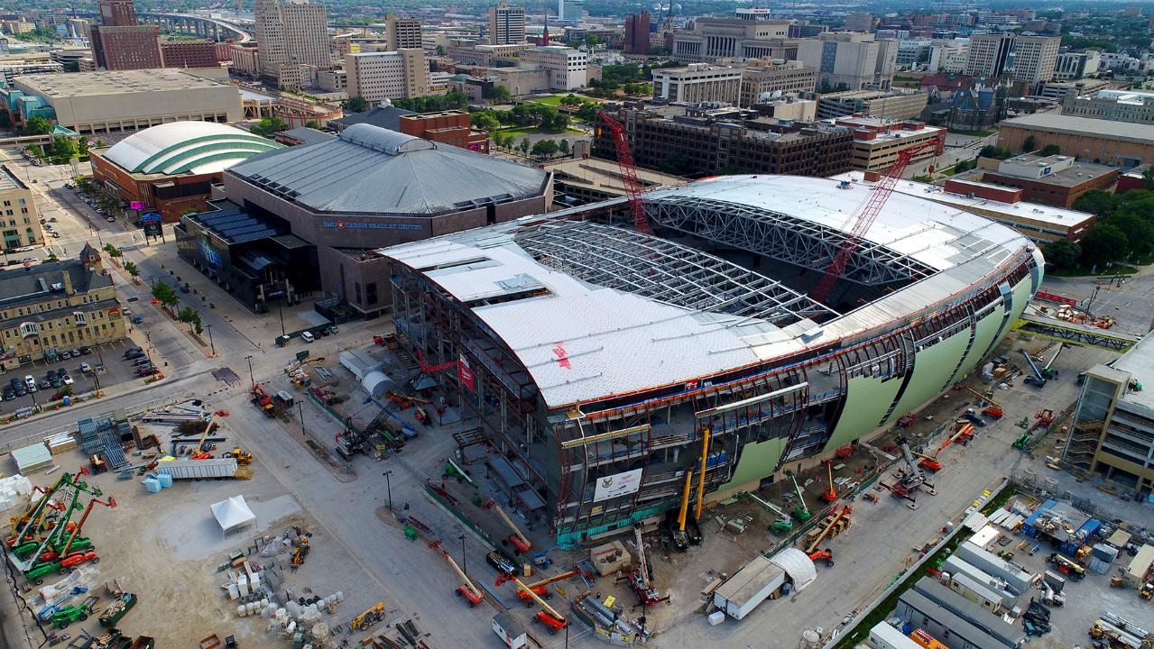 Video Aerial View From A Drone At Future Milwaukee Bucks Arena
