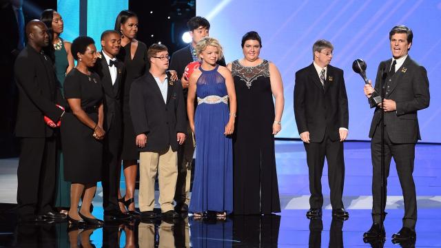Daina Shilts of Neillsville attended the 2017 ESPY Awards to help present the Arthur Ashe Courage Award to the late Eunice Kennedy Shriver, who founded the Special Olympics in 1968. She presented the award to Kennedy Shriver's son, Tim Shriver, with seven other Special Olympics athletes and former First Lady Michelle Obama.