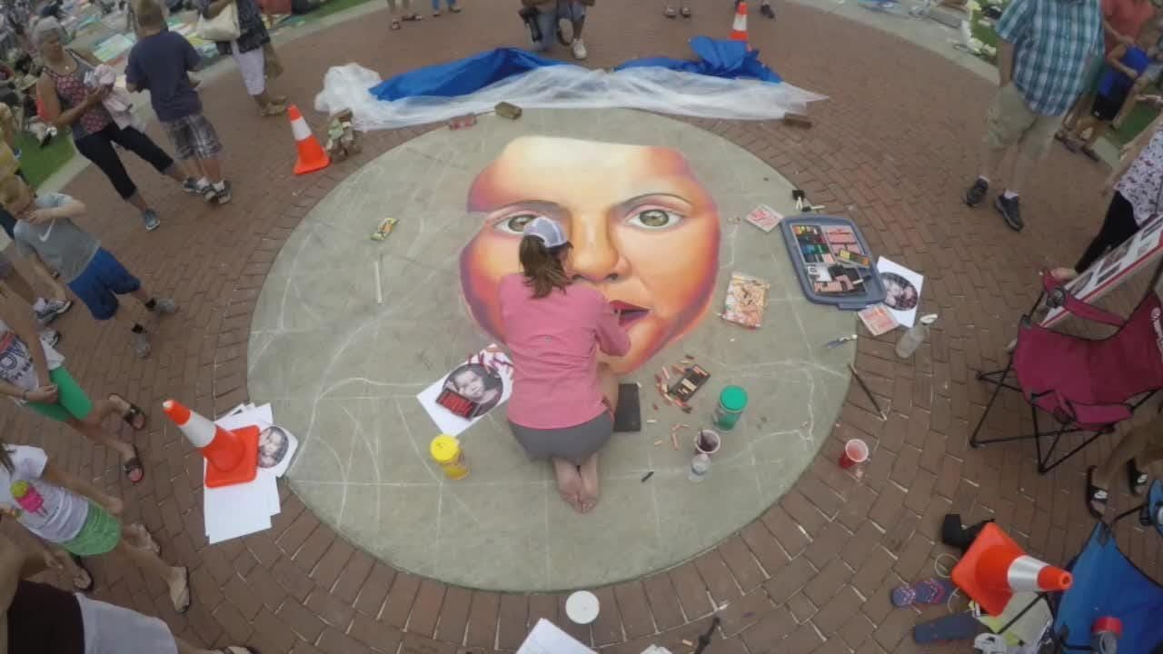 Watch as VOSStudios owner Emily Voss completes her chalk masterpiece during the 2017 Chalkfest weekend