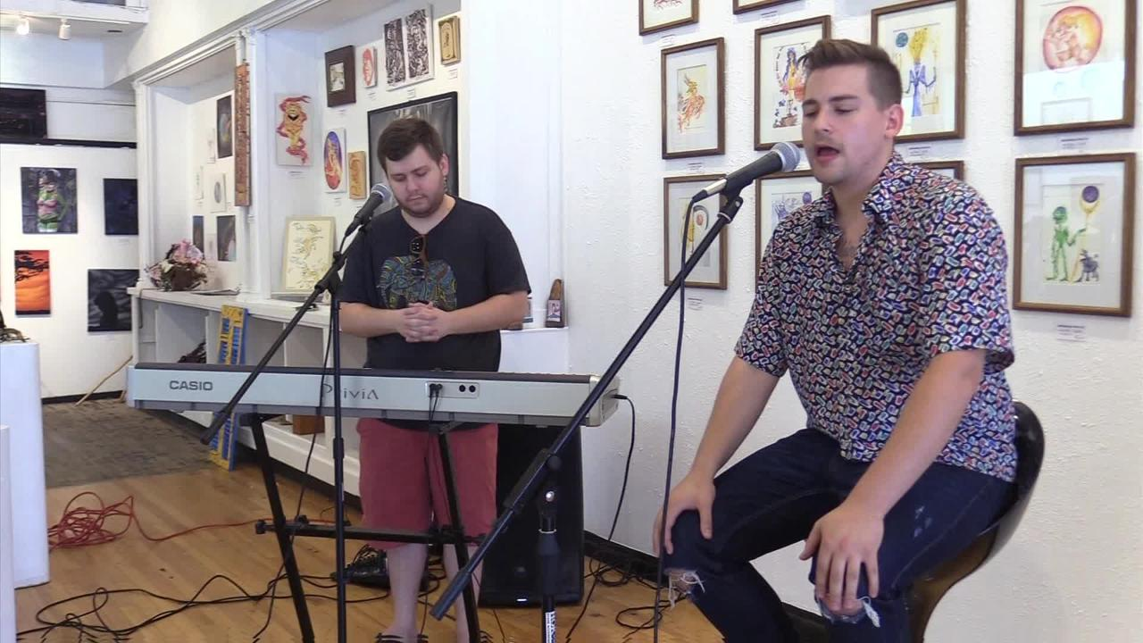 Oshkosh hip-hop artist Keag, accompanied by Dylan Finley, performs two songs at Jambalaya Arts Inc. Keag is featured in the Oshkosh Main Street Music Festival July 26-30, where he will perform 9 p.m. on July 28 at Peabody's Ale House. (July 19, 2017)
