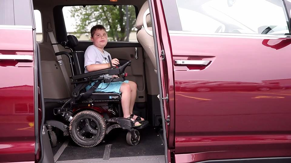Hayden Harris, who was diagnosed with Duchenne muscular dystrophy three years ago, is wheelchair dependent. With help from the Jett Foundation, Hayden's family received a wheelchair-accessible van so they can more easily travel from place to place.