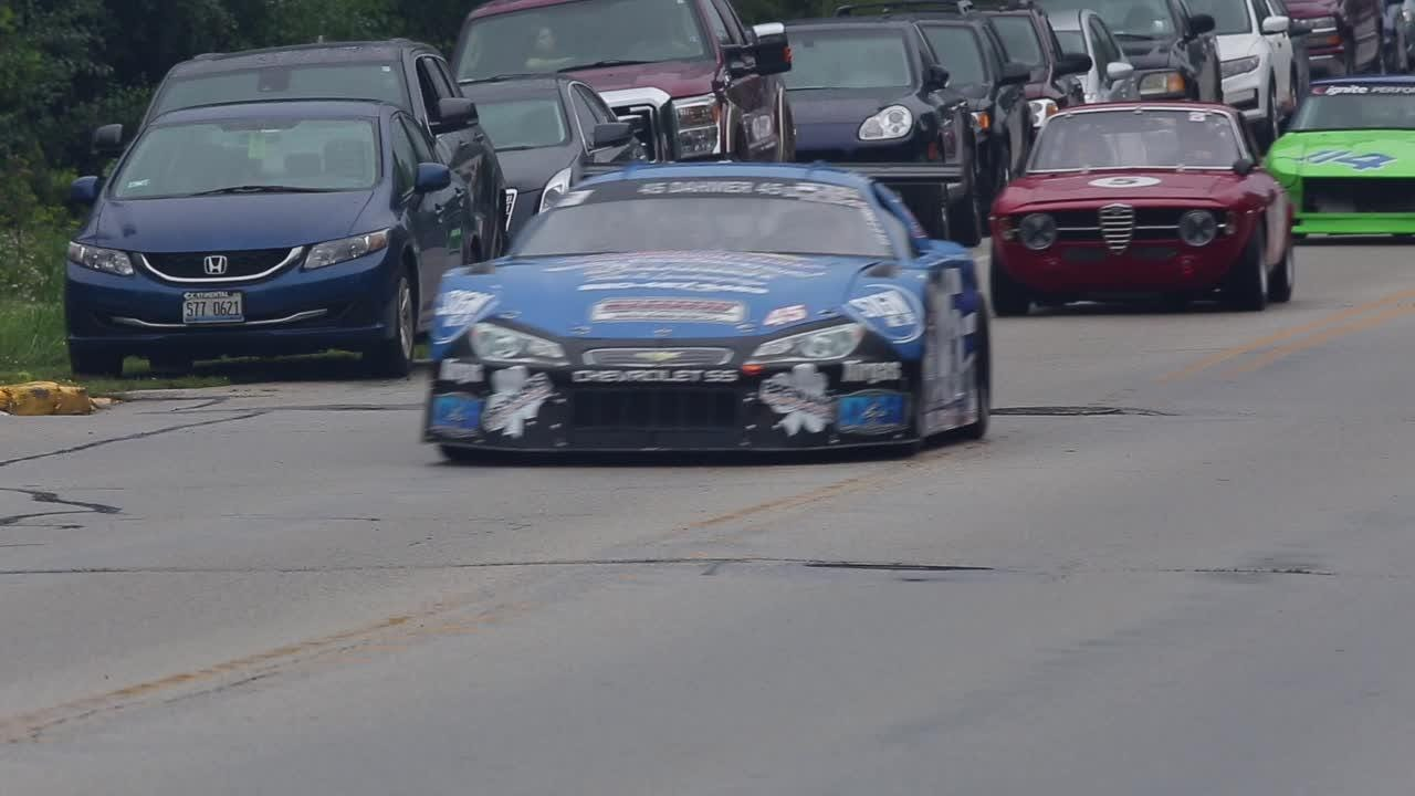 Vintage Race Cars parade from Road America to downtown Elkhart Lake