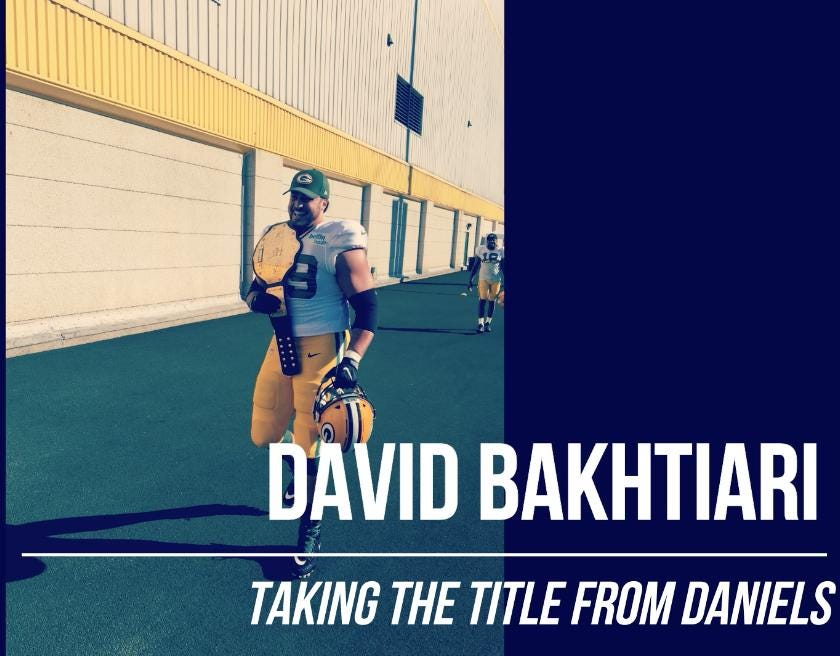 Green Bay Packers left tackle David Bakhtiari arrived at Saturday's practice with a championship belt. Afterwards, he explained why.