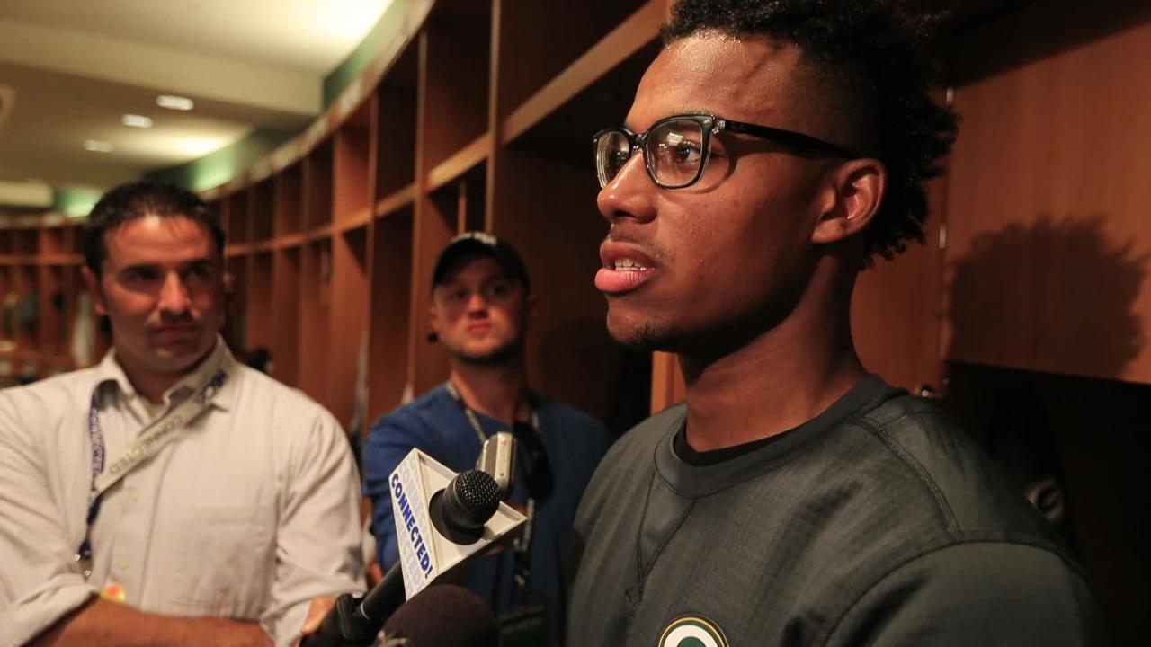 Green Bay Packers rookie wide receiver Malachi Dupre talks to the media after training camp practice on Aug. 1, 2017.