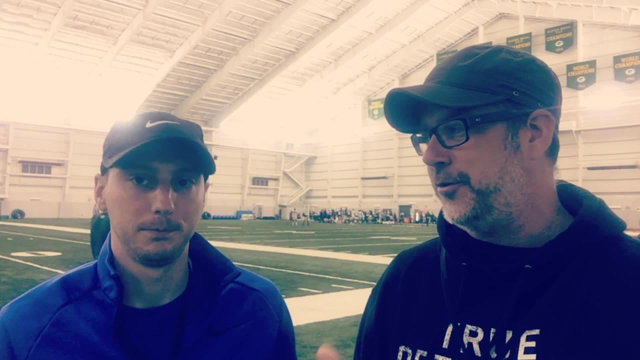 Michael Cohen and Aaron Nagler discuss the intensity of Thursday night's practice inside the Don Hutson Center. (Aug. 3, 2017)
