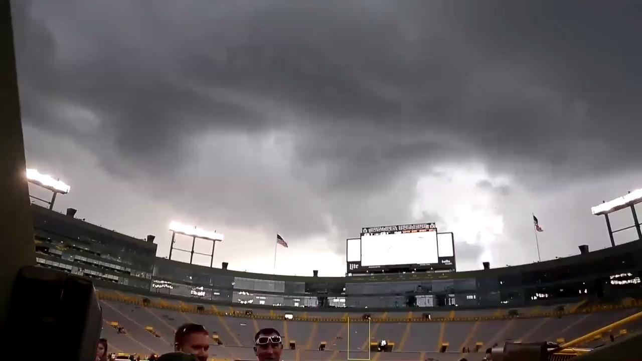 Green Bay Packers Family Night on Aug. 5, 2017 was briefly delayed due to storms in the area.