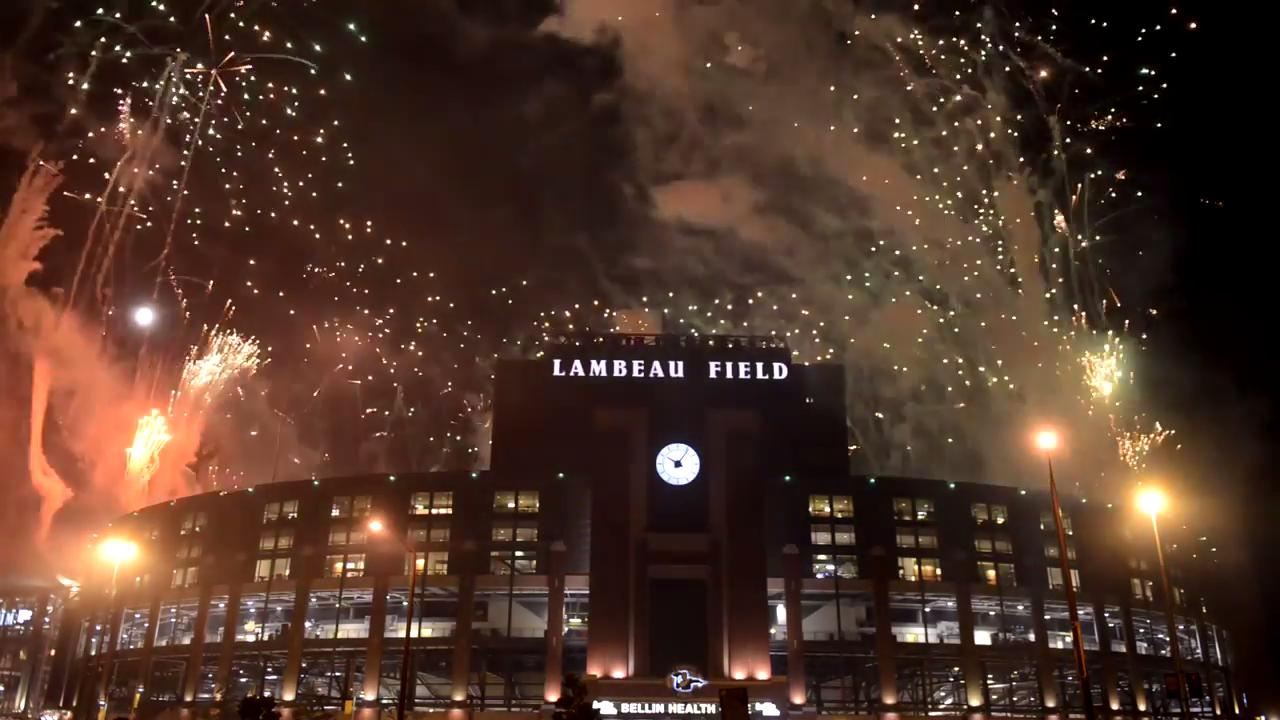 Green Bay Packers Family Night concluded with a fireworks show over Lambeau Field on Aug. 5, 2017.