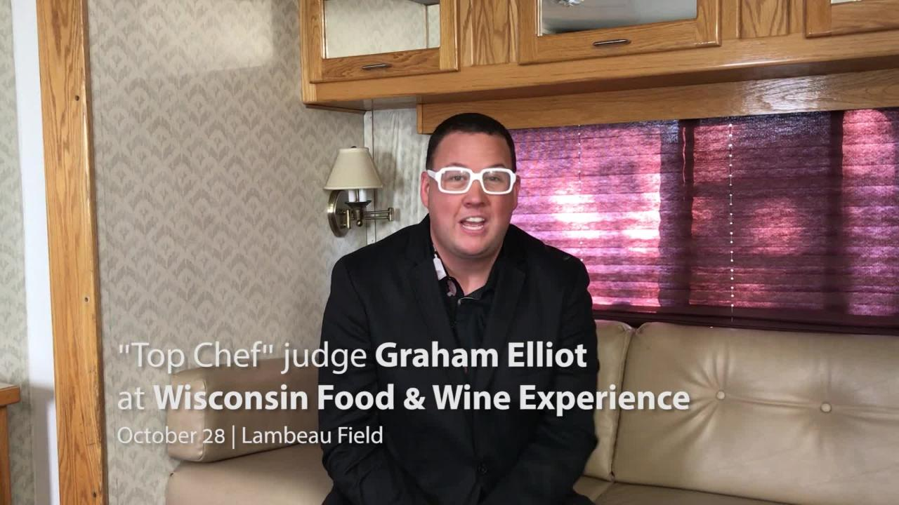 Graham Elliot will be at the Wisconsin Food & Wine Experience on Oct. 28 at the Johnsonville Tailgate Village in the Lambeau Field parking lot.