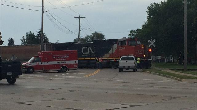 A train hit a 16-year-old boy trying to cross the tracks near Chase Street, but not at a marked crossing Wednesday afternoon in Wisconsin Rapids, according to police.