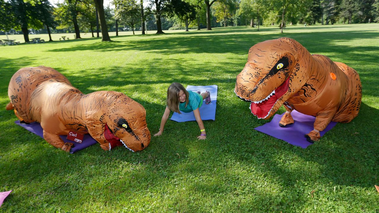 Museum's dinosaurs do yoga