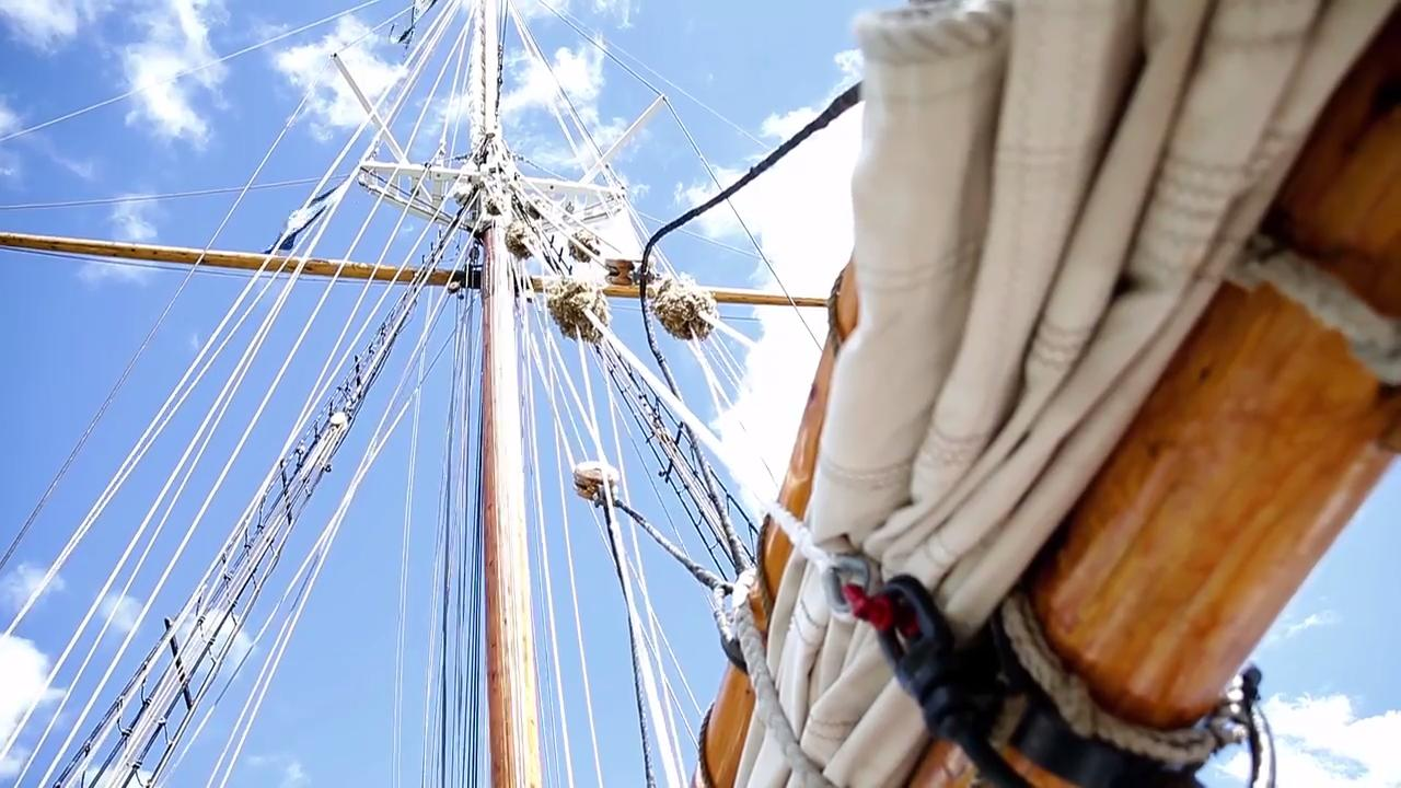 The three-masted schooner S/V Denis Sullivan was in Manitowoc on Aug 17, 2017 as part of the Wisconsin Maritime Museum's celebration of Maritime Heritage Day.