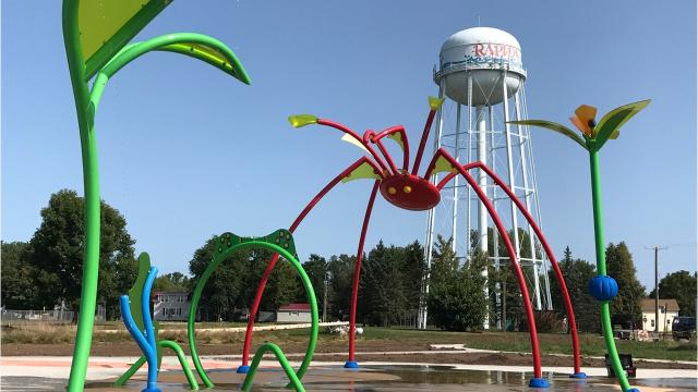 Crews tested the splash pad features Aug. 24 at Mead Field in Wisconsin Rapids.