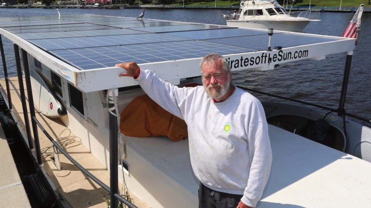 """The """"RA"""", a solar powered boat named after an Egyptian sun god is taking a tour of Lake Michigan and made a stop in Sheboygan."""
