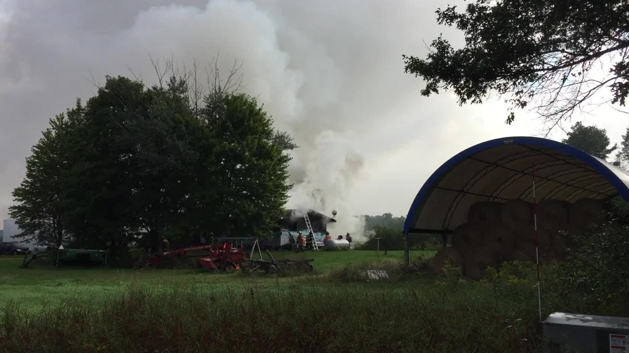A home was destroyed in a fire Wednesday morning, but multiple people escaped unharmed.