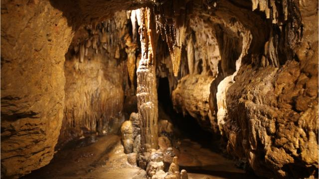 Cave of the Mounds is a large limestone cave in Blue Mounds open for tours year round.