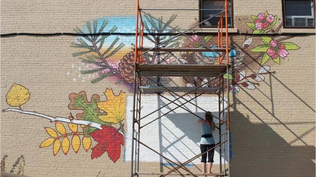 Jessica Kopecky is adding color to Wausau's near west side with a mural over 14 feet tall